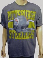Pittsburgh Steelers Screen Print Show Boat Helmet S/s Gray Tee Shirt Xl
