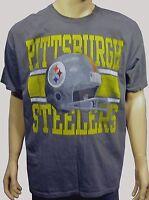 Pittsburgh Steelers Screen Print Show Boat Helmet S/s Gray Tee Shirt Xl
