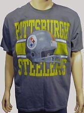NEW Pittsburgh Steelers Screen Print Show Boat Helmet S/S Gray Tee Shirt XL NWT