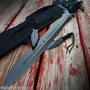 28-034-NINJA-SAMURAI-Full-Tang-SWORD-KATANA-Machete-w-Throwing-Knives-Set-Kunai