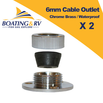 2 x Chrome Brass Cable Outlet 6mm - Electrical Weatherproof Through Wire