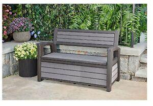 Prime Details About Keter Hudson Plastic Storage Bench 60 Gallon Deck Box Grey Machost Co Dining Chair Design Ideas Machostcouk