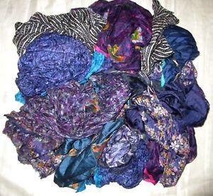 LOT-PURE-SILK-Antique-Vintage-Sari-REMNANT-Fabrics-100-GRAMS-CRAFT-DOLL-QUILT-22
