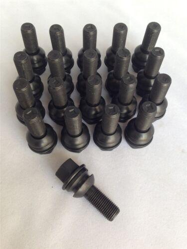 M14 x 1,5 de 19mm Hexagonal Set De 20 radio Asiento Rueda de la aleación Pernos Negro 30 mm de hilos