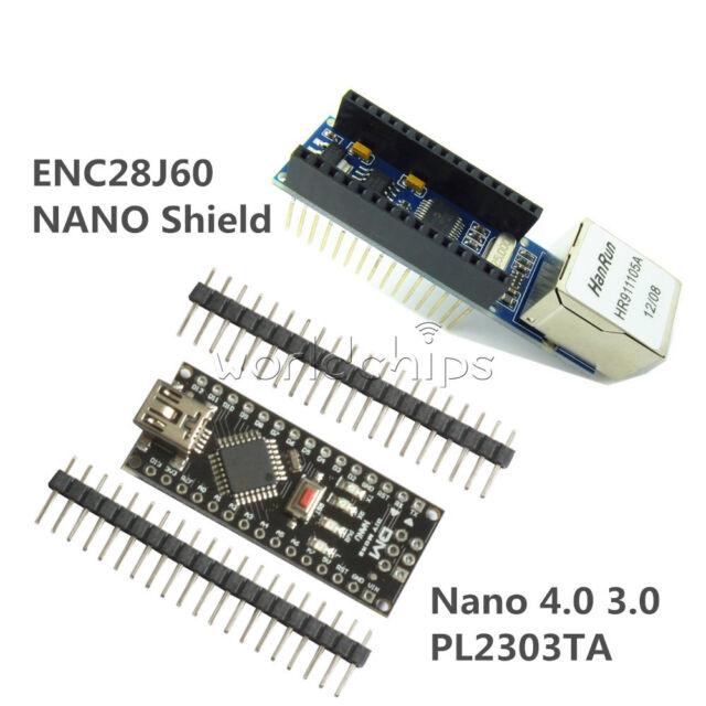 USB Nano V3.0 4.0 Atmega328P Board +ENC28J60 Ethernet Shield Module for Arduino