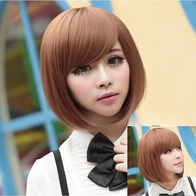 New Womens Ladies Short Straight BoB Hair Full Cosplay Costume Wig Black/Brown
