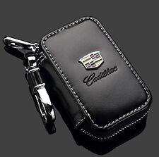 Cadillac Black Premium Leather Car Key Chain Coin Holder Zipper Case Remote W...