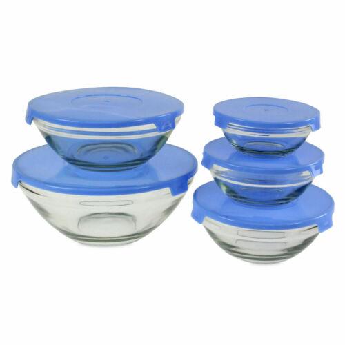 5 Piezas Conjunto De Ensalada Bol De Vidrio Con Tapas Lavavajillas Recipiente De Almacenamiento De Alimentos