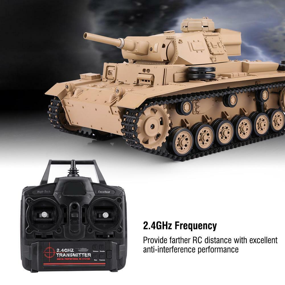 Henglong 2.4Ghz Radio Control 1/16 Tauch Panzer III Ausf Tanque Con Sonido Humo RTR
