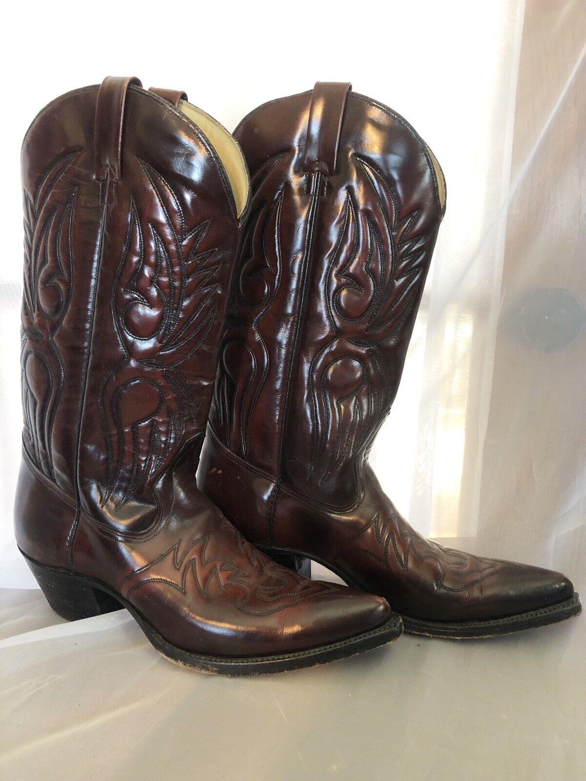Por encargo botas Hombre Western Cowboy botas de montar Cuero Marrón Oscuro B