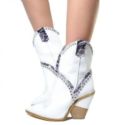 prezzo di fabbrica d7cd0 60d53 Stivaletti Donna Camperos Texani Pelle Punta Bianchi MADE IN ITALY Tex106 |  eBay