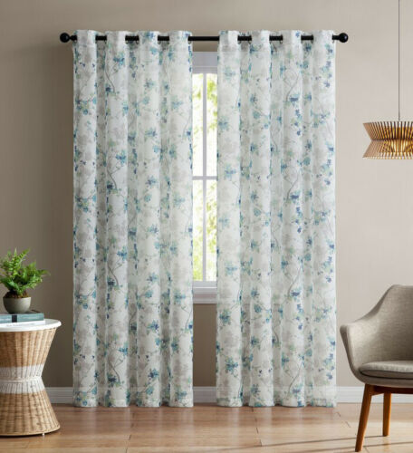 """Two Teal and White Floral Design 84/""""L Sheer Window Curtain Panels: Grommets 2"""