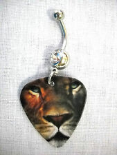 NEW COLOR LION FACE PRINTED GUITAR PICK 14g CLEAR CZ NAVEL BARBELL BELLY RING