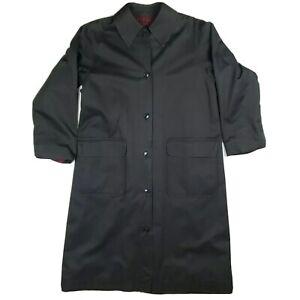 Vintage Saint Laurent Rive Gauche Black Coat Plaid Lined Made In France Medium?