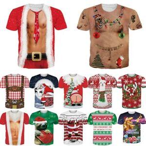 Mens-Womens-Ugly-Christmas-T-Shirt-3D-Print-Graphic-Short-Sleeve-Xmas-Tee-Tops