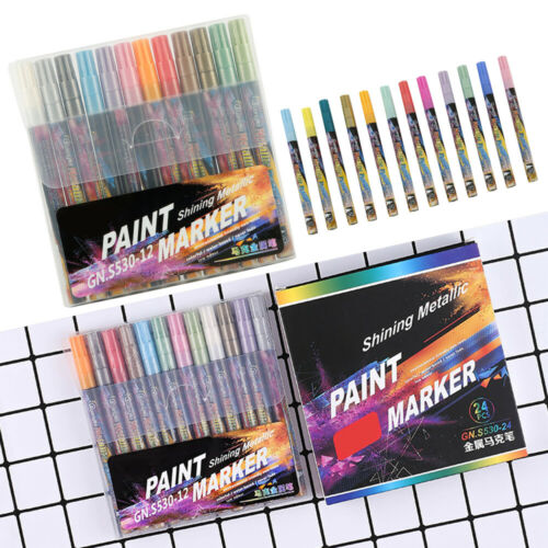 12//24 Farben Metallic Acrylstifte Marker Set Für DIY Graffiti Karten Wasserfest