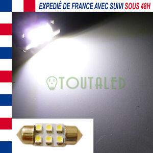 AMPOULE LAMPE NAVETTE C3W 31MM 12V 6 LED 3528 BLANC XENON INTERIEUR PLAFONNIER