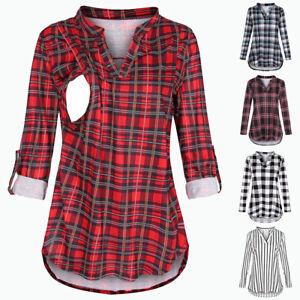 Pregnant-Women-039-s-Plaid-Tops-Maternity-Long-Sleeve-V-neck-Nursing-T-shirt-Blouse