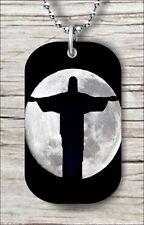 "JESUS OF RIO DE JANEIRO FULL MOON DOG TAG PENDANT and ""FREE CHAIN"" -k8a4v6"