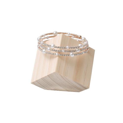 Wood Square Block Bracelet Display Storage Unpainted Jewelry Holder Showcase