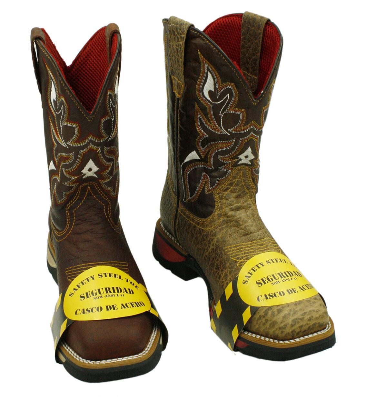 Para hombres Genuino Cuero botas De Vaquero Rodeo Occidental Con Puntera De Acero PR82W2795