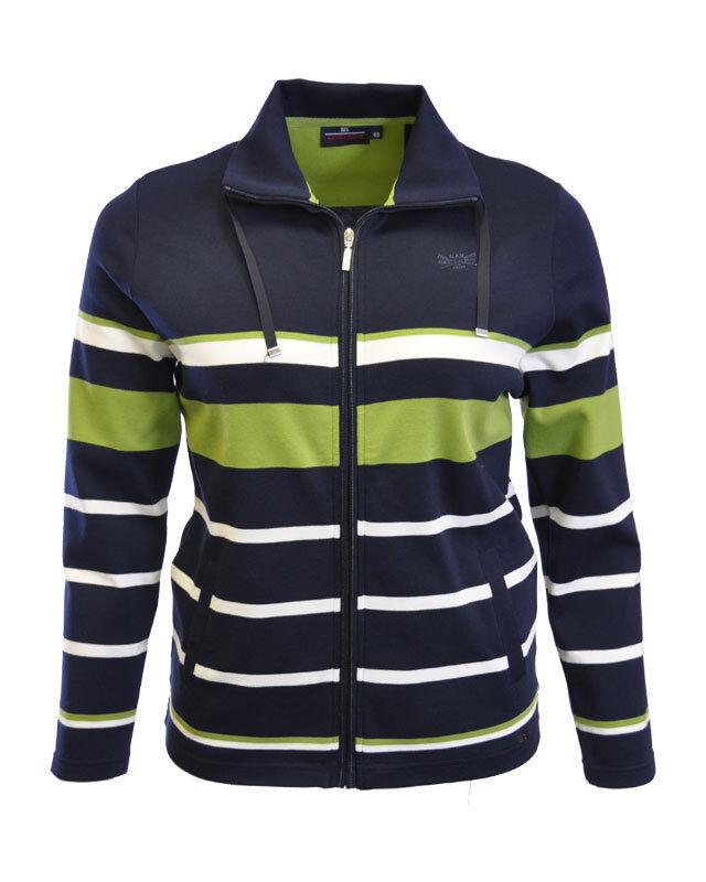 HS Fashion da donna-COTONE-Sweatjacke limette verde-Marine Blocco Strisce 5001