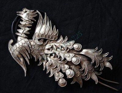 100%Handmade Miao Silver Phoenix Hairpin Headdress 2014--90