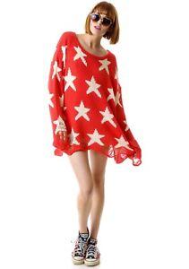Wildfox Amour libre voir étoiles Hiver Lennon Sweater Sz S