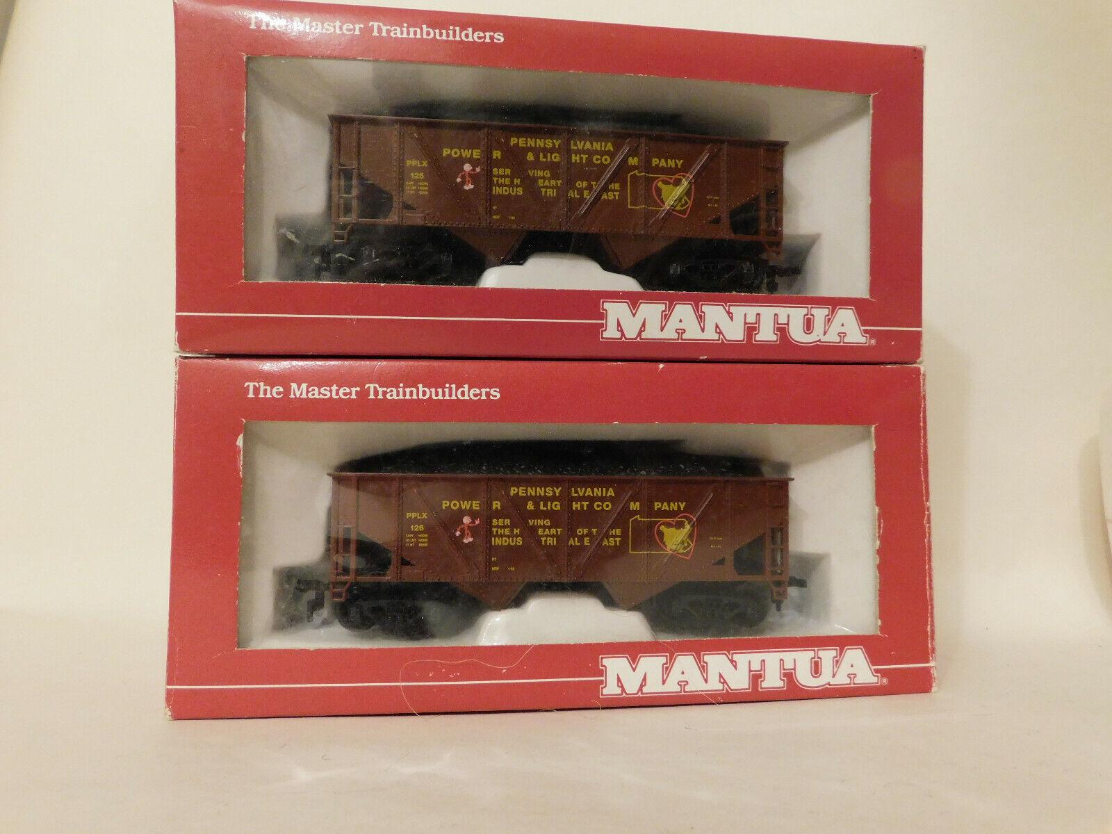 MANTUA  TWO  PA PWR & LIGHT COAL HOPPERS w LOADS  & HO TrainNEW