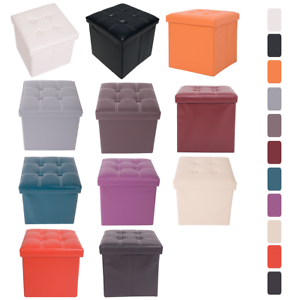 Mobili-Rebecca-Cube-Stool-Storage-Seat-Box-11-Colors-Lined-Faux-Leather-38-cm