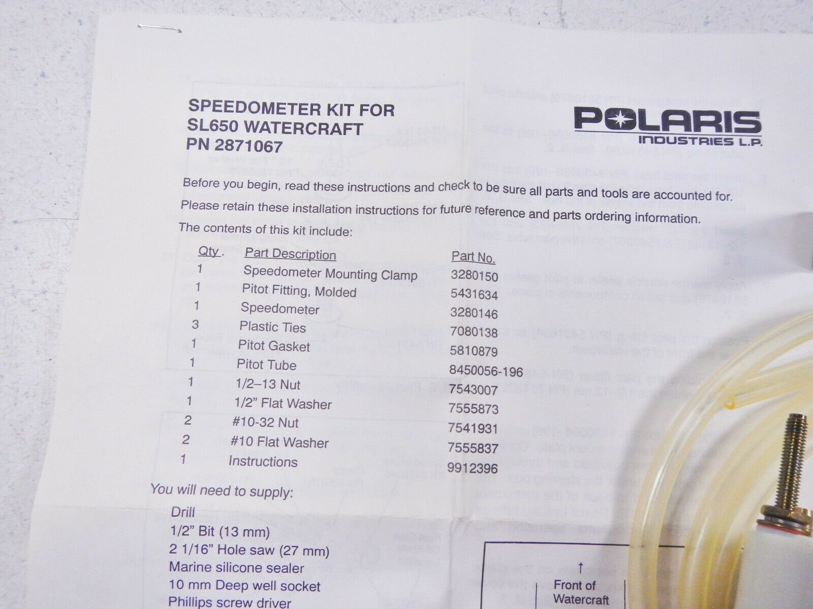 Polaris Speedometer Kit For SL 650 SL650 Watercraft 2871067
