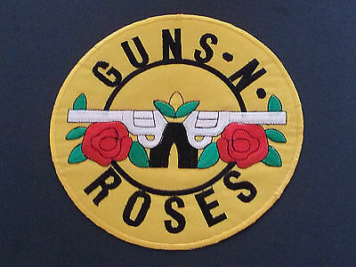 LARGE SEW / IRON ON ROCK MUSIC BACK-PATCH:- GUNS N ROSES DUAL ROSES & REVELOVERS