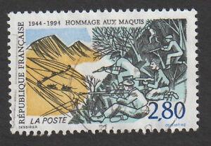 TIMBRE-1994-HOMMAGE-AUX-MAQUIS-TIMBRE-OBLITERE-CACHET-ROND