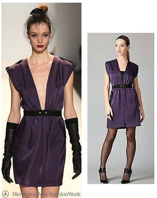325 Cynthia Steffe Natasha Plum Purple Ribbon Trim Dress 8