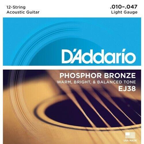 Daddario EJ38 Akustikgitarre Saiten 12-Saiter Phosphor-BronzeNeu
