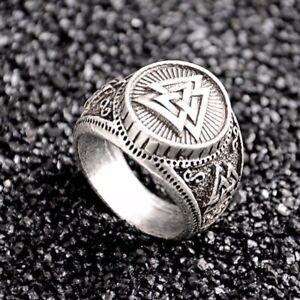 Maenner-Vintage-Silber-Valknut-nordisch-Nordic-Odin-Ringe-Viking-wikinger-Schmuck