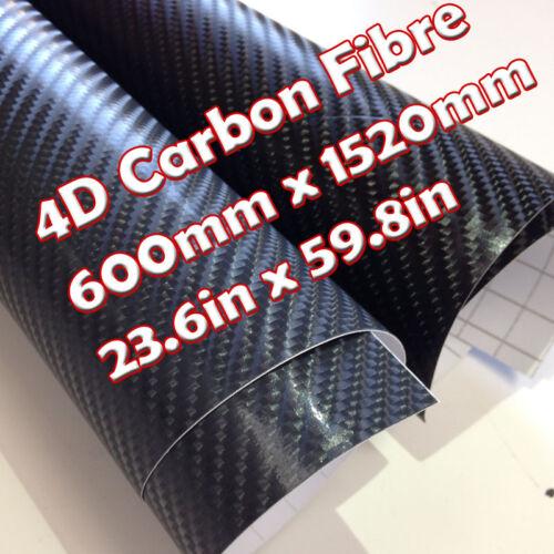 59.8in x 23.6in 4D Black Carbon Fibre Vinyl Wrap Air Bubble Free 1500mm x 600mm