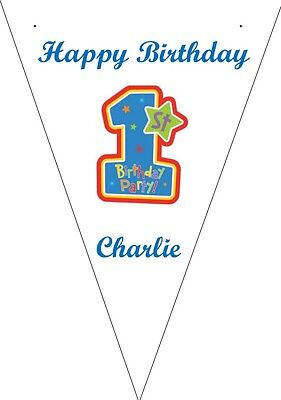 3m Personalised 10 Flag bunting party decoration - Birthday 1st Boy