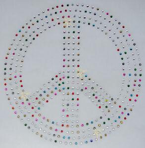 HUGE-PEACE-SIGN-mix-col-iron-on-rhinestone-CRYSTAL-BEAD-TSHIRT-TRANSFER-applique