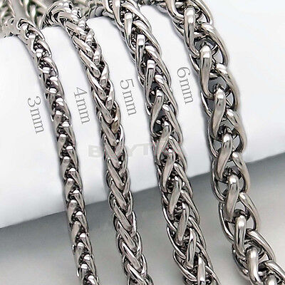 "3/4/5/6MM 20"" MENS Silver Stainless Steel Wheat Braided Chain Necklace LA US A1"