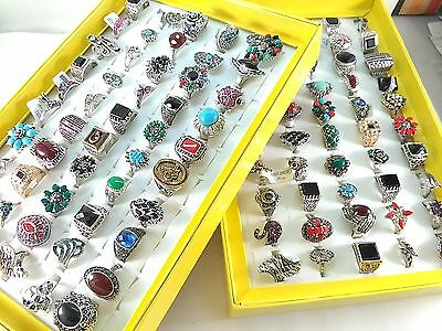 50 Pcs Mix lot Random Style Enamel Zircon Alloy Rings Women Party Jewelry