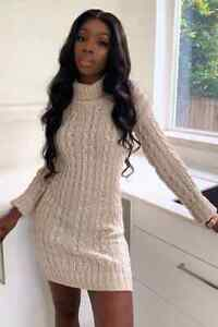 New-Ladies-Women-039-s-Cable-Knitted-Polo-Roll-Neck-Long-Sleeve-Jumper-Stretch-Dress