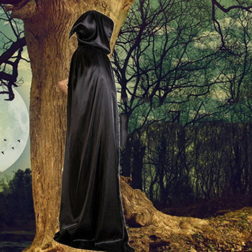 Halloween Hot Black Death Cloak Costum Party Hood Wide Smooth Wizard Cloth