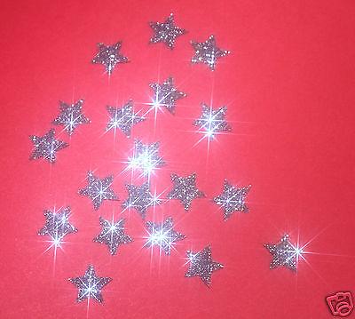 30 étoiles GRIS FONCE 1cm Flex thermocollant GLITTER BLACK SILVER hotfix