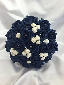 Wedding Flowers Artificial Ivory Navy Blue Foam Rose Wedding