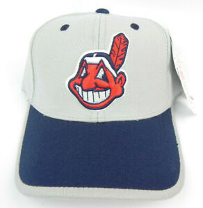 CLEVELAND INDIANS ANNCO MLB VTG STRAPBACK CHIEF WAHOO 2-TONE CAP HAT NEW RARE!