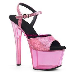 Sexy-SANDALI-GLITTER-tacco-18-dal-35-al-41-ROSA-BABY-plateau-scarpe-GLAMOUR-club