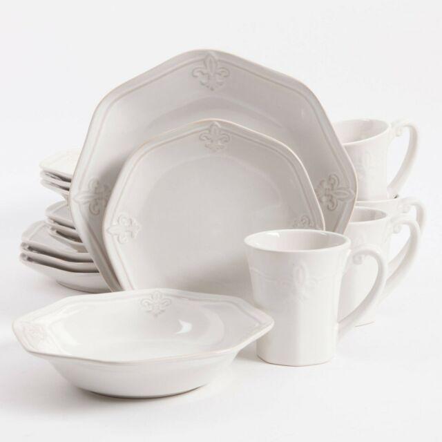 Dinnerware Set 16 Piece White Durable Stoneware Dishwasher Microwave Safe