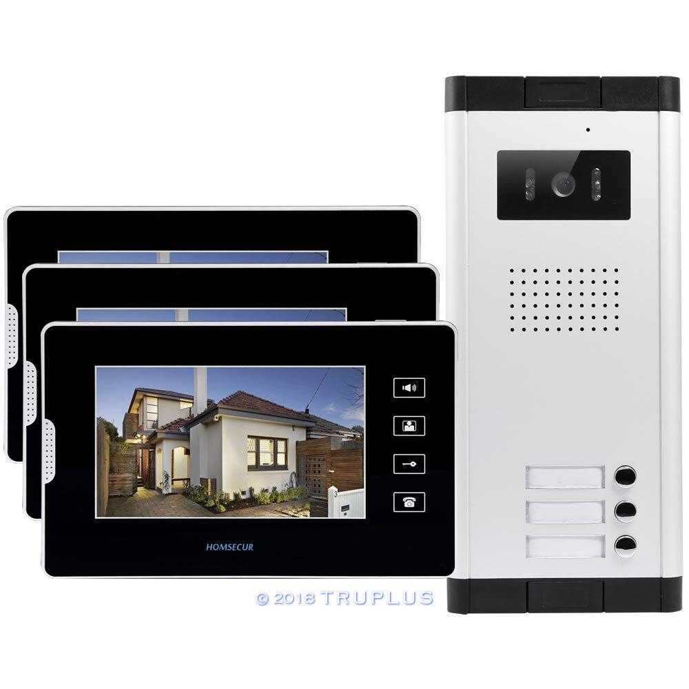 HOMSECUR 7  intercomunicador de video con IR Cámara HD Cerradura Eléctrica Compatible para 3 Pisos
