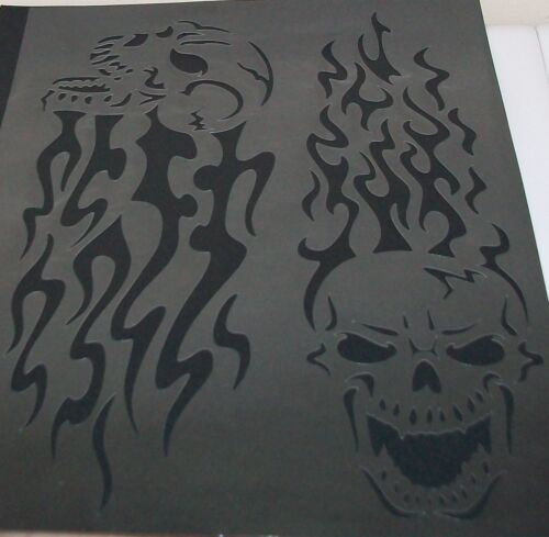 2in1 S8 A4 Fire Flame Skulls Airbrush Stencil Mask Template Textile Paint Craft